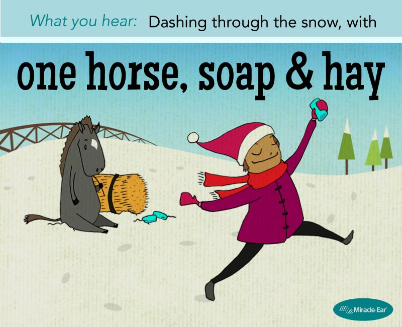 """One horse, soap and hay"""