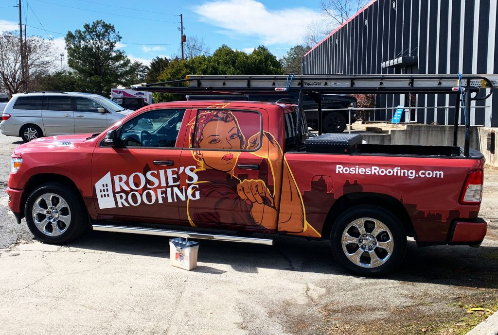 Rosie's truck wrap in action